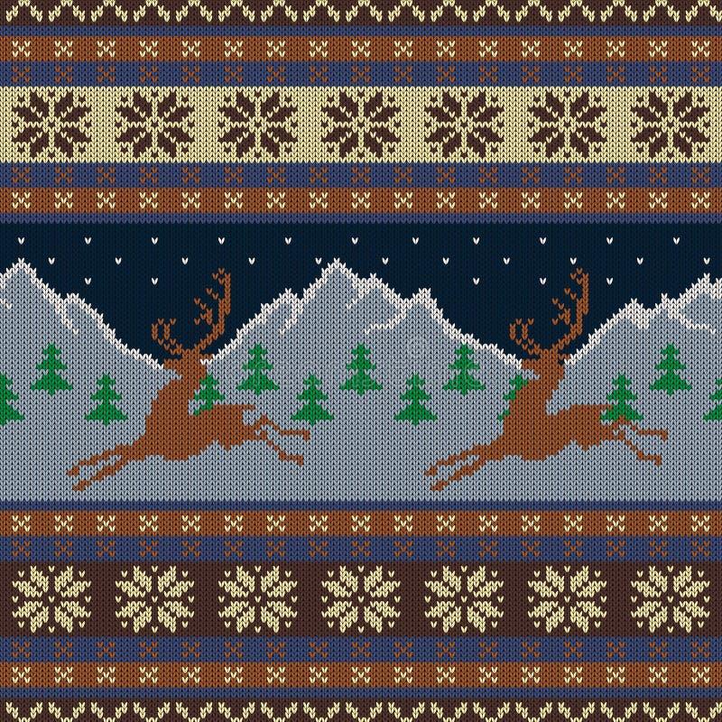 Gebreid woltapijtwerk met deers op een achtergrond van snow-capped bergen en een sterrige hemel royalty-vrije illustratie