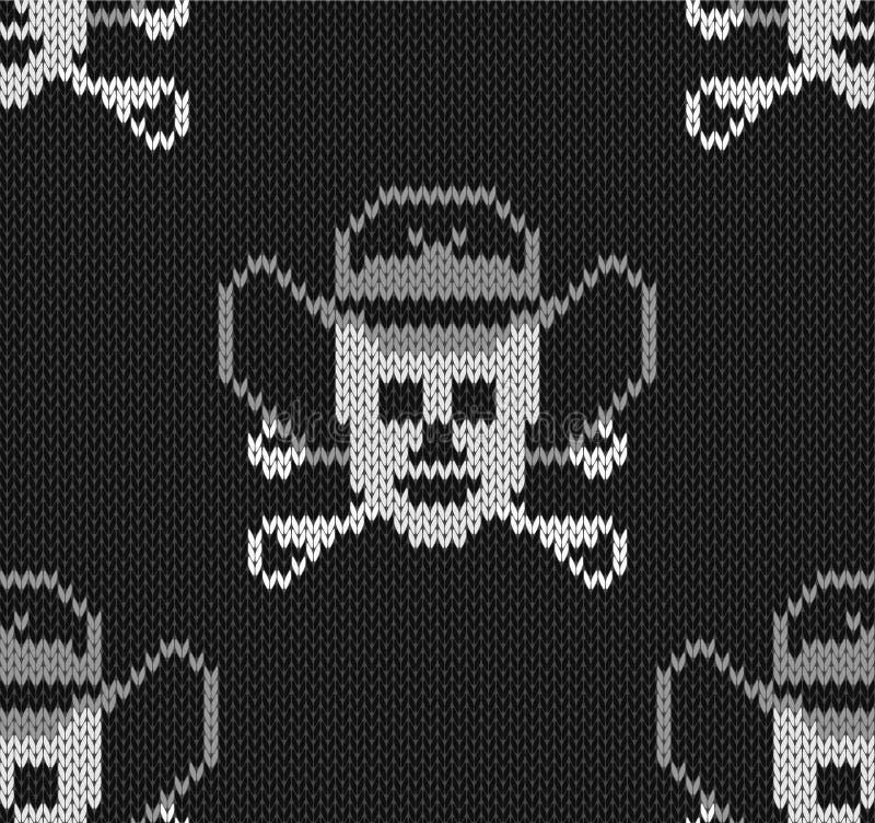 Gebreide achtergrond met schedels in een cowboyshoed royalty-vrije illustratie