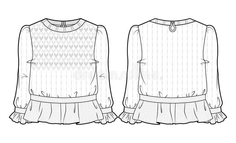 Gebreide blouse met uitgebreide decoratie royalty-vrije illustratie