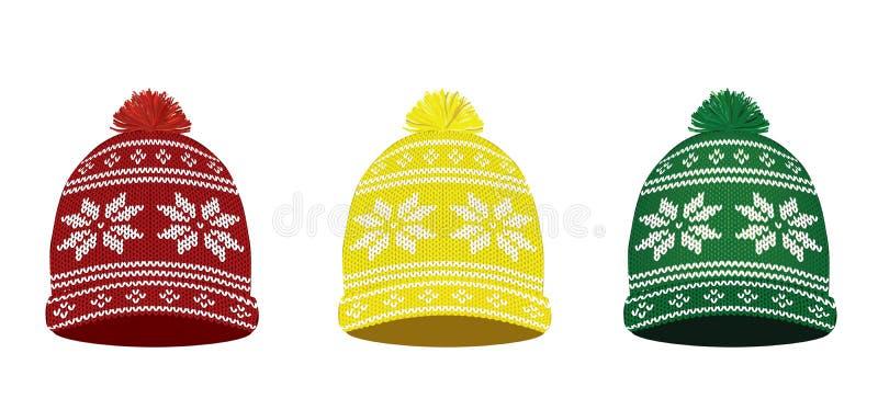 Gebreide de winterkappen met Noords patroon stock illustratie