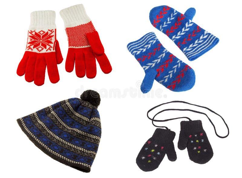 Gebreide handschoenen en hoed stock foto