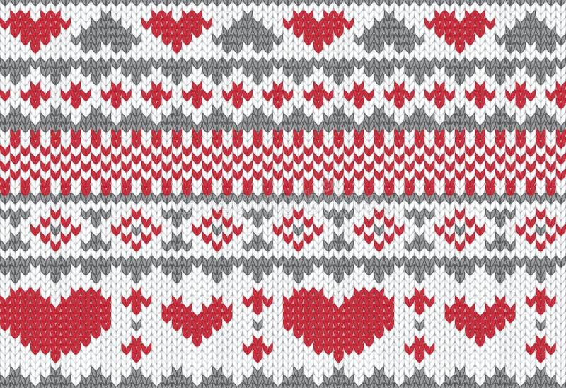 Gebreide patroonvector met harten vector illustratie