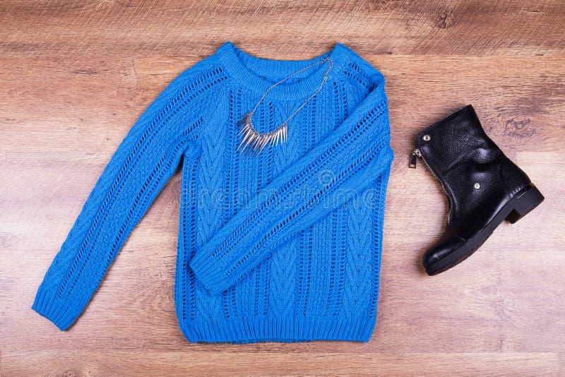 Gebreide sweater, schoen en halsband royalty-vrije stock foto