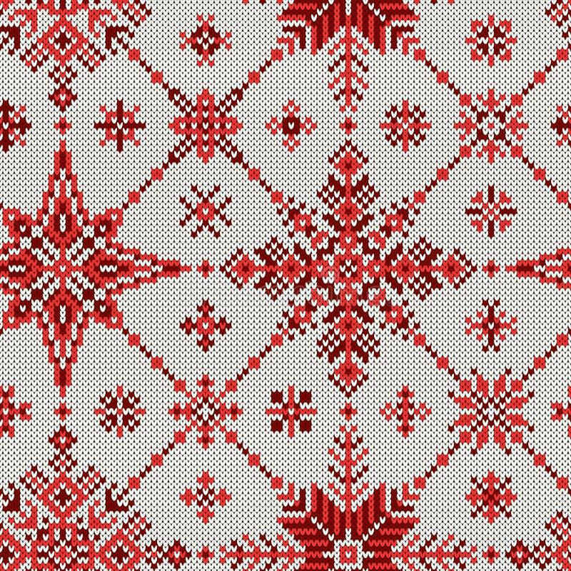 Gebreide textuur Naadloos gebreid patroon van sneeuwvlokken vector illustratie