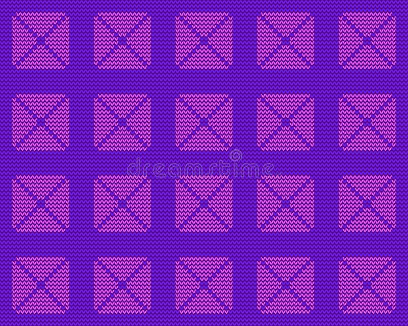 Gebreide textuur, roze vierkanten op een purpere achtergrond royalty-vrije stock foto's