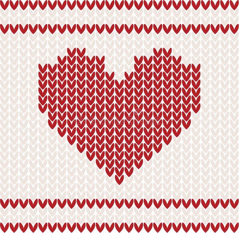 Gebreide vector met hart stock illustratie