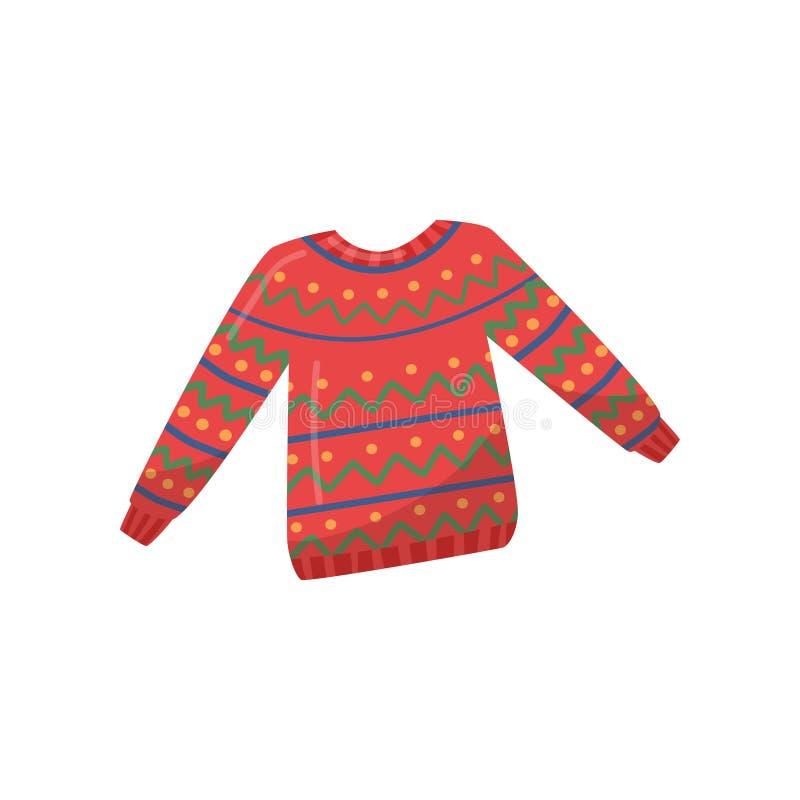 Gebreide wollen sweater Rode trui met kleurrijk patroon Warme kleding voor wintertijd Vlak vectorontwerp stock illustratie