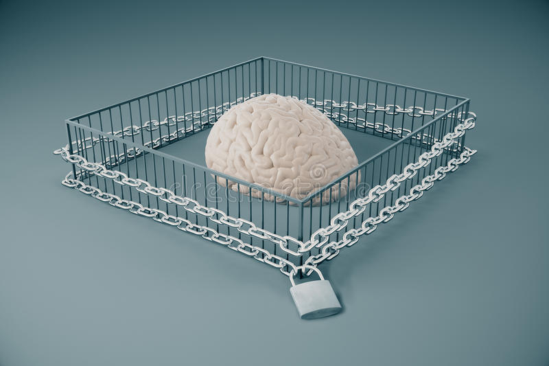 Gebrek aan het vrije denken royalty-vrije illustratie