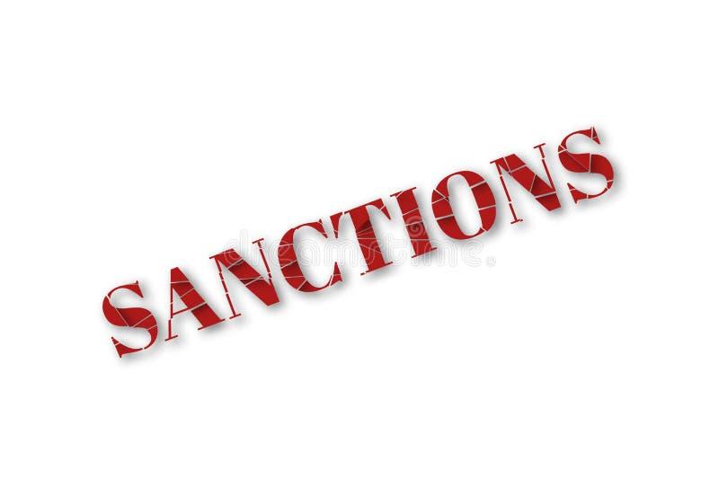 Gebrochen mit einem Textwort-Sanktionsisolat des Schattens 3d roten auf weißem Hintergrund stock abbildung