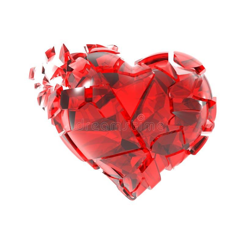 Gebrochen in Stücke rotes Glasherz lizenzfreie abbildung