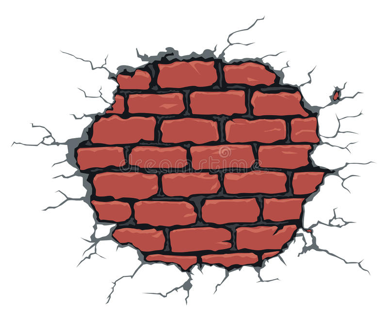 Gebrochene Backsteinmauer vektor abbildung