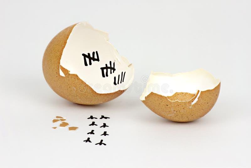 Gebrochene Eierschale mit Abdrücken auf weißem Hintergrund lizenzfreies stockbild
