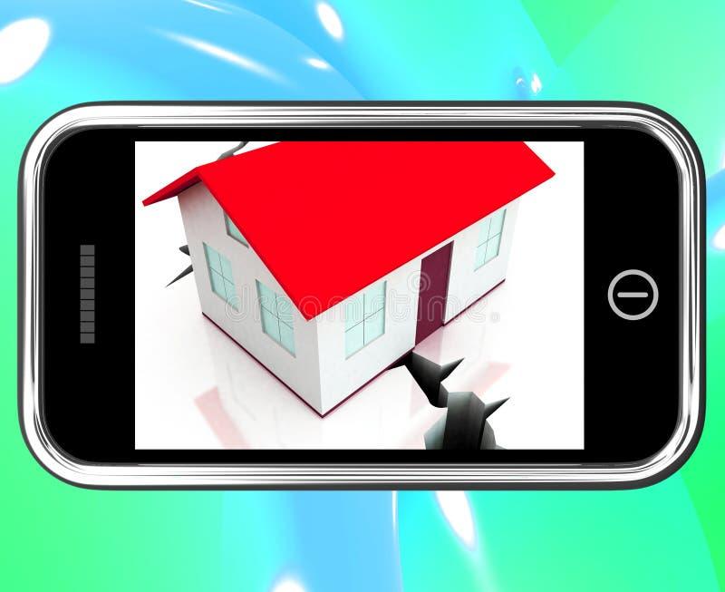 Gebrochene Grundlagen auf Smartphone, das schädigendes Haus zeigt vektor abbildung