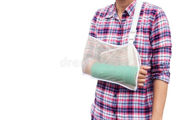 gebrochener Arm, Frauenarmknochen gebrochen vom Unfall mit Grünform stockbilder
