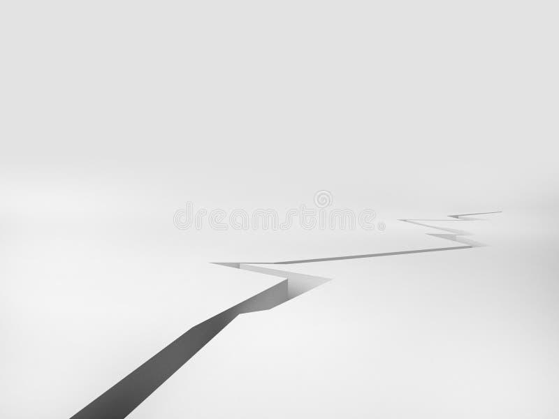 Gebrochener Boden mit weißem Hintergrund, Illustration der Wiedergabe 3d lizenzfreie abbildung