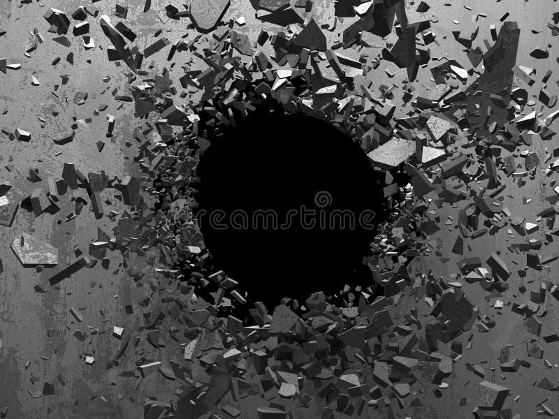 Gebrochener Explosionsbetonmauerloch-Zusammenfassungshintergrund lizenzfreie abbildung