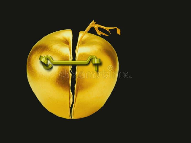 Gebrochener goldener Apfel, als Symbol der Wirtschaft stockbilder