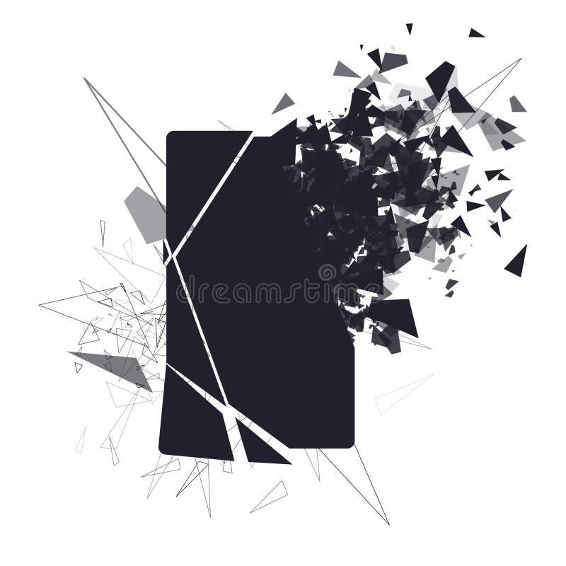 Gebrochener Telefonschirm zerbricht in Stücke stock abbildung