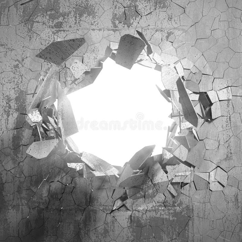 Gebrochenes großes Loch in der defekten Betonmauer zu beleuchten stockfotografie