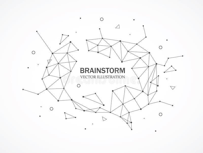 Gebrochenes polygonales Element Wireframe Masche Gehirnform mit verbundenen Linien und Punkten vektor abbildung