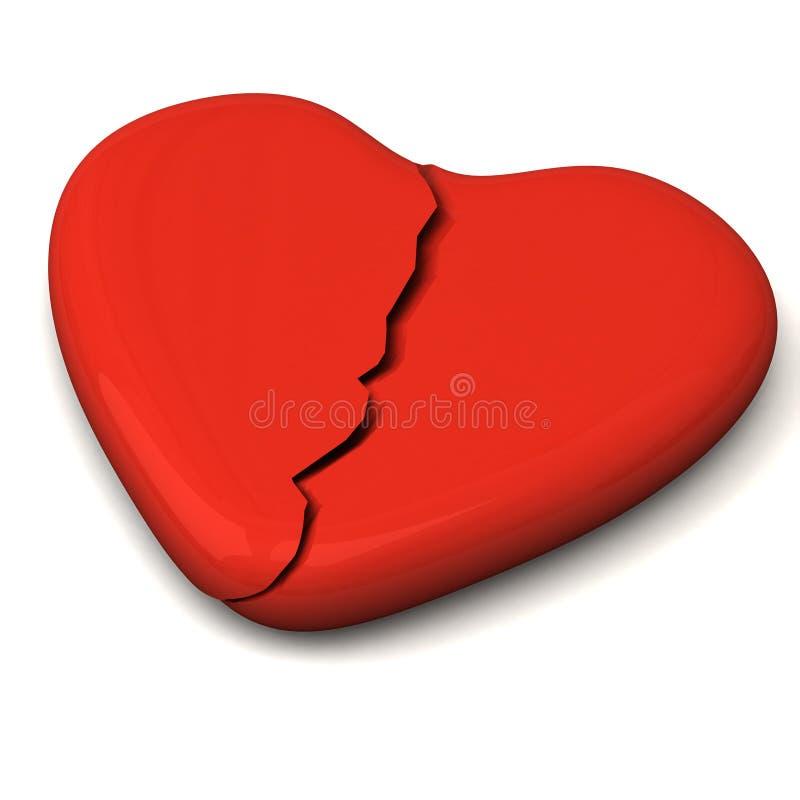Gebroken 3d hart vector illustratie