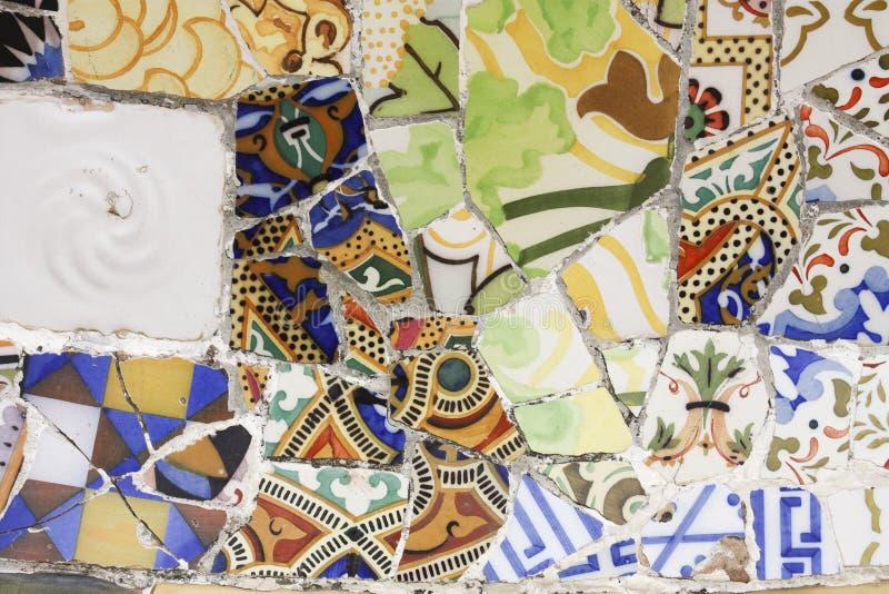 Gebroken aardewerk, trencadia, Gaudi. royalty-vrije stock foto