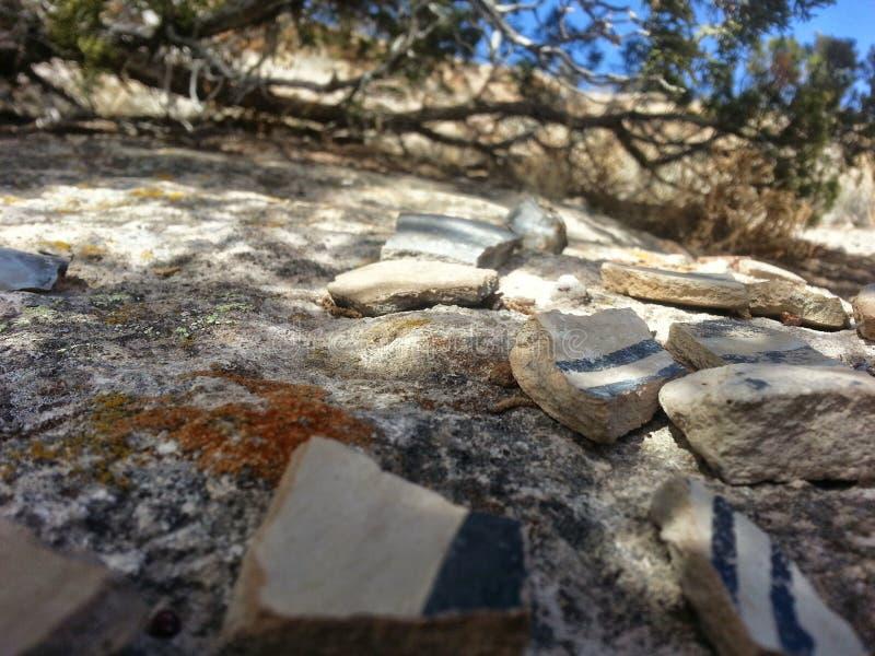 Gebroken aardewerk Tsankawe New Mexico royalty-vrije stock afbeelding