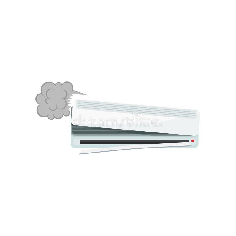 Gebroken airconditioner, de beschadigde vectorillustratie van het huistoestel op een witte achtergrond royalty-vrije illustratie