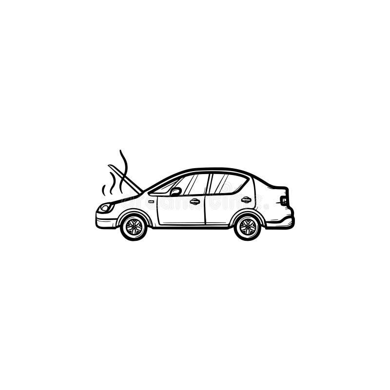Gebroken auto met het open kap en stoomhand getrokken pictogram van de overzichtskrabbel stock illustratie