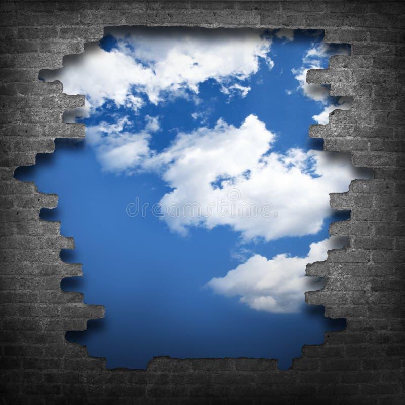 Download Gebroken bakstenen muur stock foto. Afbeelding bestaande uit hemel - 39103296