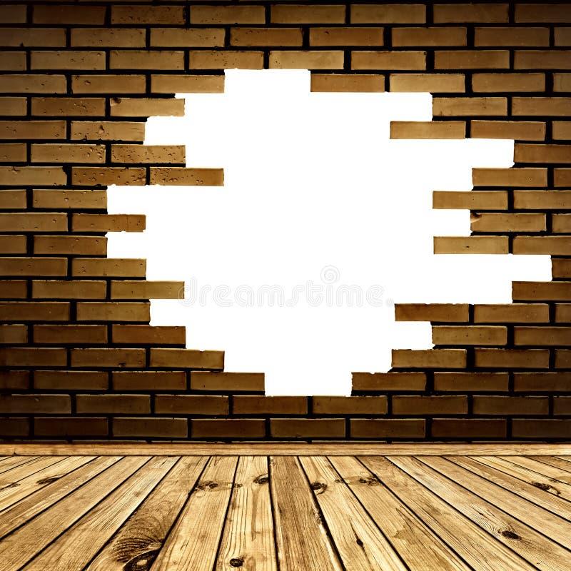 Gebroken bakstenen muur in de ruimte stock illustratie