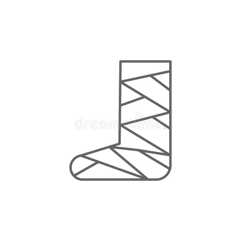 Gebroken been, gipspictogram Pictogram van het geneesmiddel Thin line pictogram vector illustratie