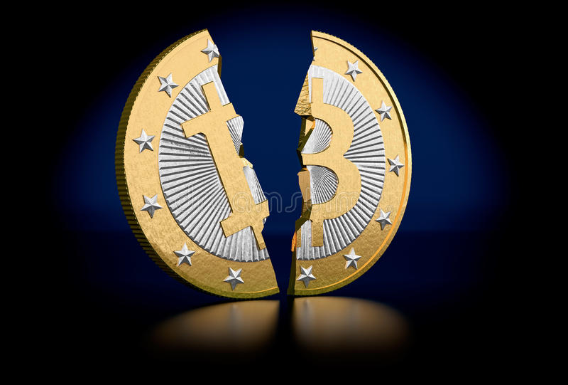 Gebroken Bitcoin royalty-vrije illustratie