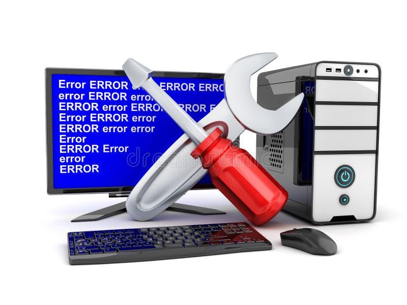 Gebroken computer en reparatiesymbool vector illustratie