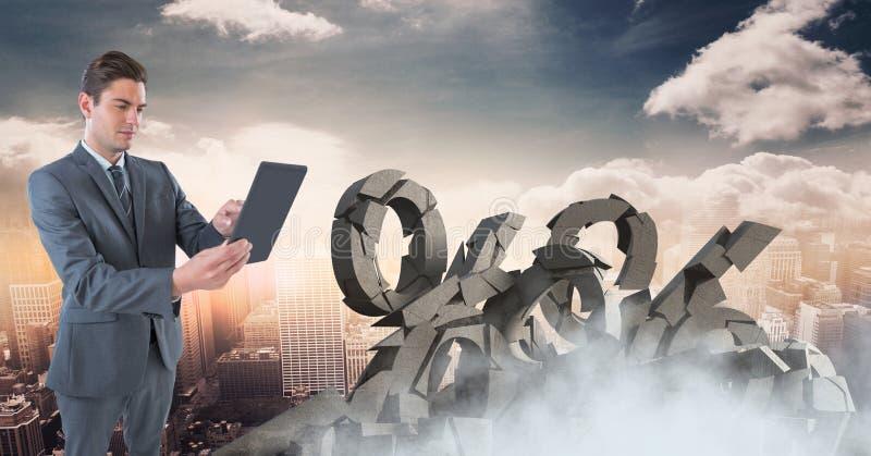 Gebroken concrete steen met percentensymbool en zakenman in cityscape stock afbeeldingen