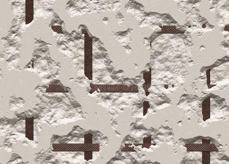 Gebroken concrete textuur van een droge muur stock illustratie