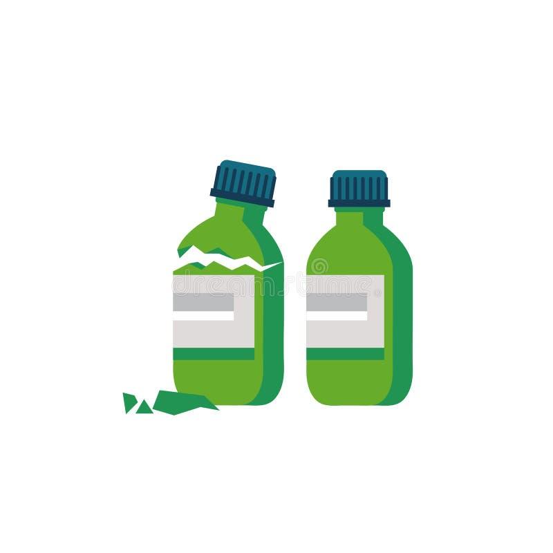 Gebroken die flessenglas van geneeskunde op witte achtergrond wordt geïsoleerd Vector illustratie Gebroken en onbeschadigde fless royalty-vrije illustratie