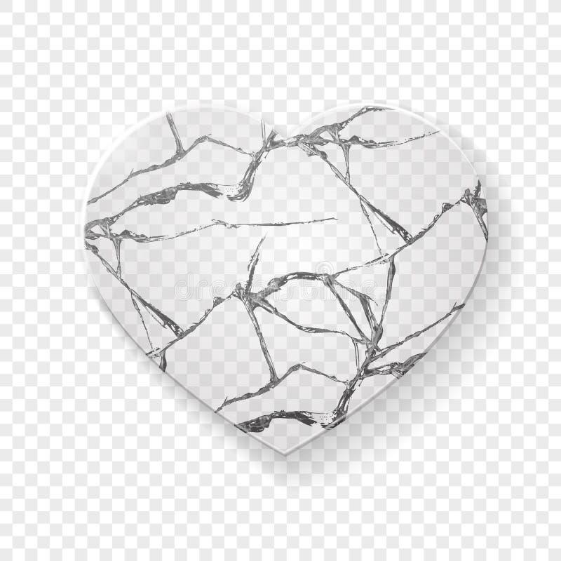 Gebroken die hart van glas wordt gemaakt stock illustratie