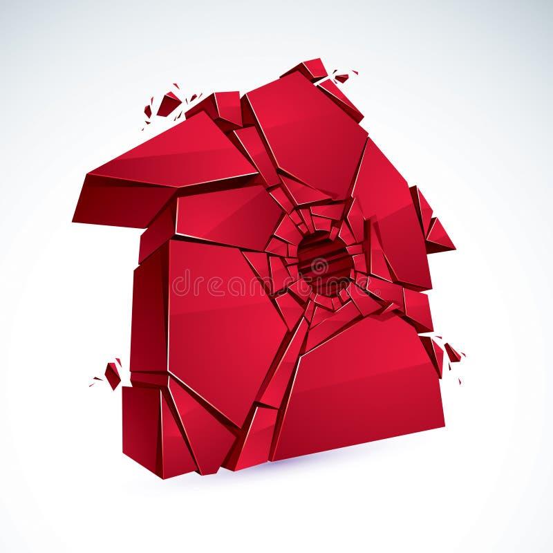 Gebroken die Huisconcept, huis aan stukken, vector realistische 3D wordt gebroken vector illustratie