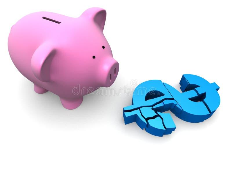 Gebroken dolar vector illustratie