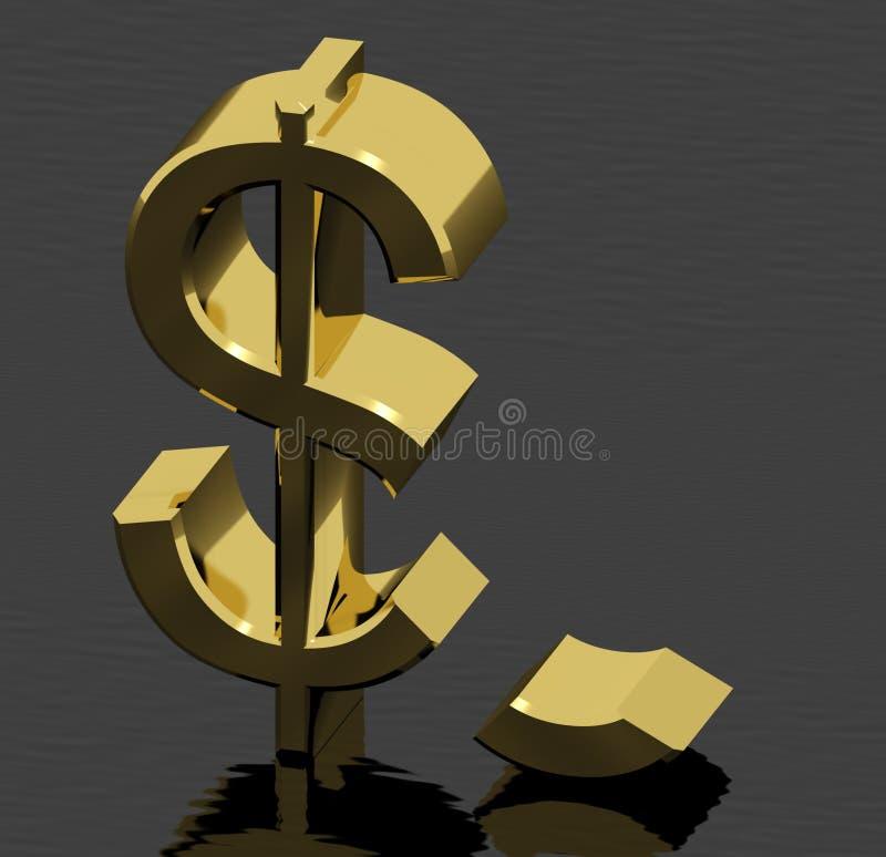 Gebroken Dollar die Inflatie vertegenwoordigt stock illustratie