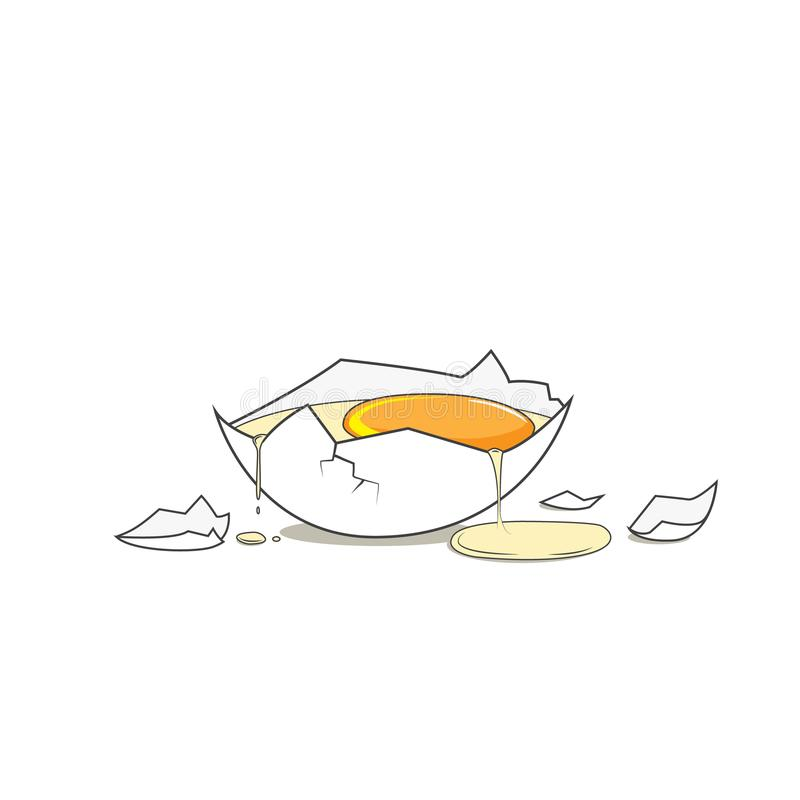 Gebroken ei Gezond eiwitdieet Voedsel vectorillustratie royalty-vrije illustratie