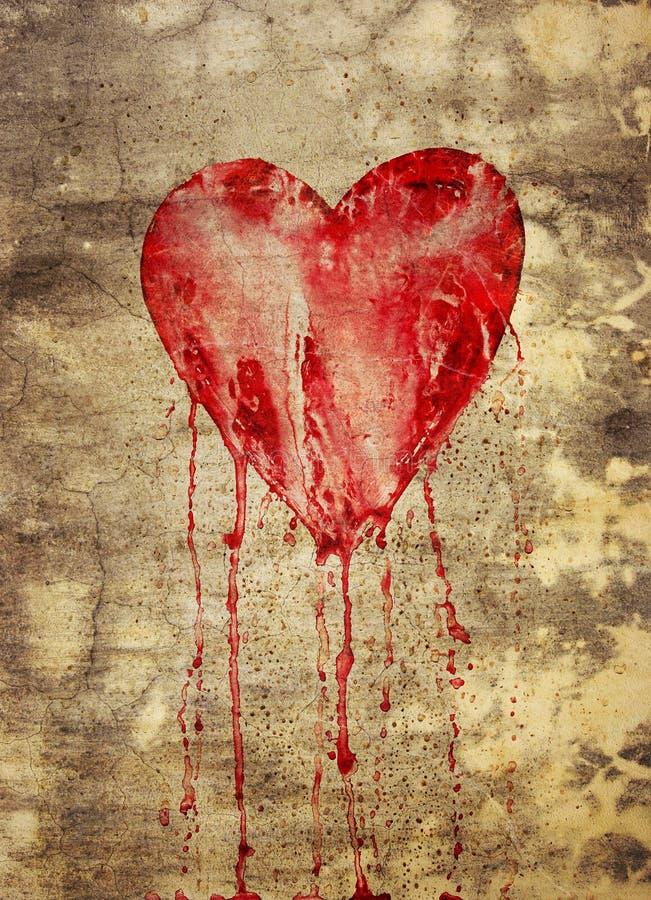 Gebroken en aftappend hart stock afbeelding