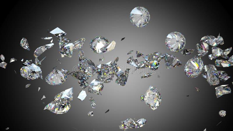 Gebroken en gebarsten diamanten of halfedelstenen stock illustratie
