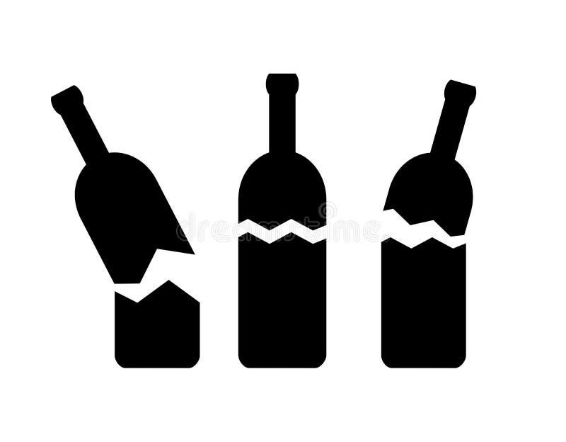 Gebroken flessen vectorpictogram vector illustratie