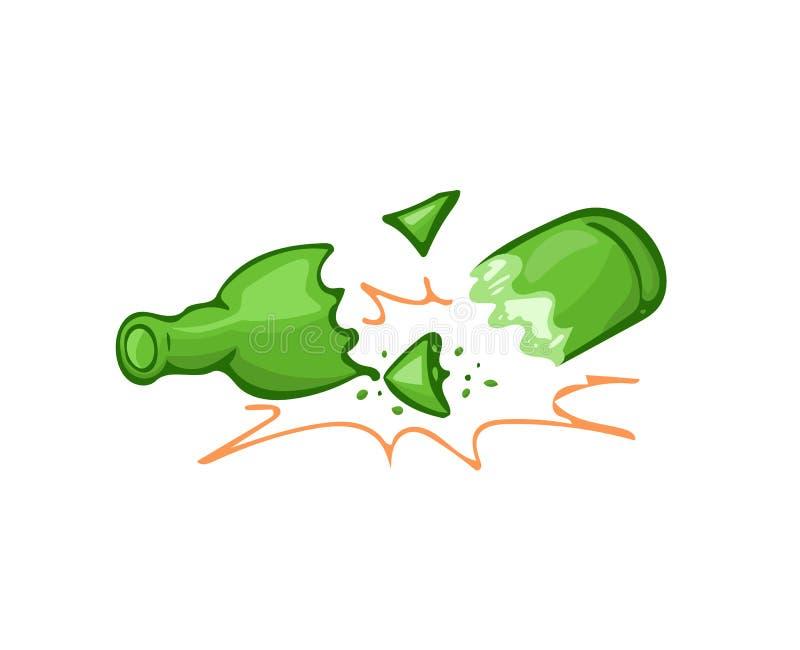 Gebroken flessenglas vector illustratie