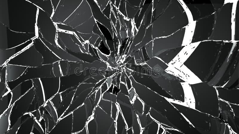Gebroken of gebarsten glas op wit vector illustratie