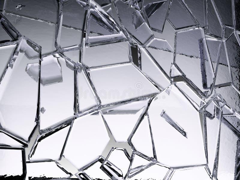 Gebroken of gebarsten stukken van transparant glas royalty-vrije illustratie