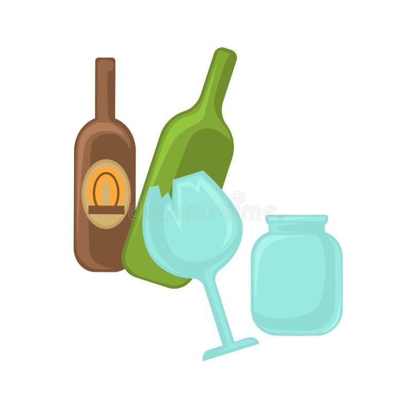 Gebroken glas, kruik en groene fles vector illustratie