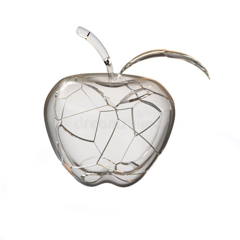 Gebroken glasappel stock illustratie